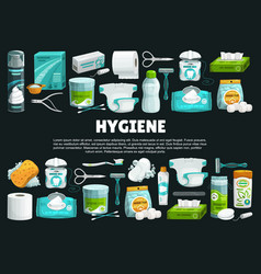 personal hygiene products and tools banner vector image