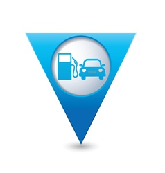 Petrol station AND car BLUE triangular map vector