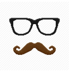 Pixel hipster glasses and mustache vector