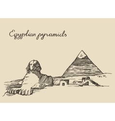Pyramids great sphinx giza in cairo egypt sketch vector