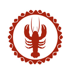 red stamp border with silhouette lobster vector image