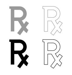 Rx symbol prescription icon set grey black color vector