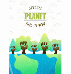Save planet card for earth day teamwork vector