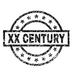 Scratched textured xx century stamp seal vector