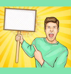Screaming man with banner on stick vector