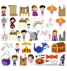 Set isolated objects theme fairytales vector