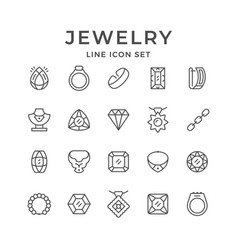 set line icons of jewelry vector image