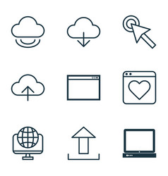 Set of 9 internet icons includes program data vector