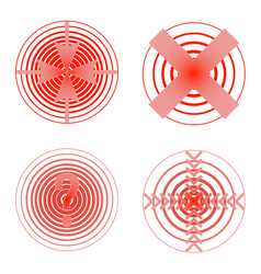 Set of red pain rings symbol of growing physical vector