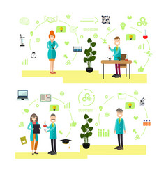 set of science people symbols icons in vector image