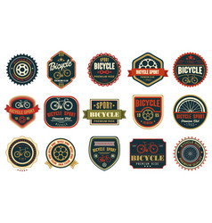 Set of vintage bicycle logos extreme cycling vector
