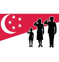 Singapore soldier family salute vector image