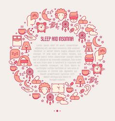 Sleep and insomnia concept circle vector