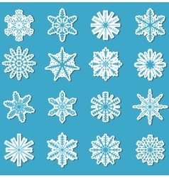 Snowflakes sticker set Snowflakes stickers for vector image