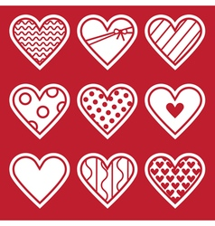 St Valentines Day Set of simple flat hearts vector image