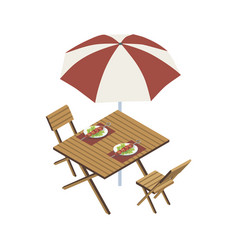 table with umbrella and meat skewers vector image