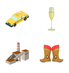 taxi glass of wine and other web icon in cartoon vector image
