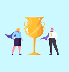 teamwork competition golden trophy win vector image