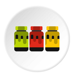 three color gouache in jar icon flat style vector image