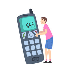 tiny man character holding huge mobile phone vector image
