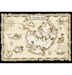 Treasure pirate hand drawn map vector image