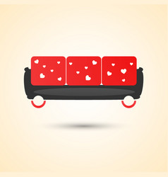 Trendy red sofa with white hearts white vector