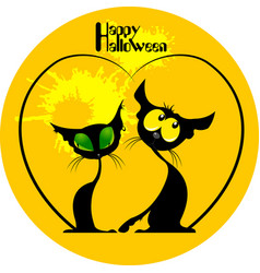Two cats halloween vector