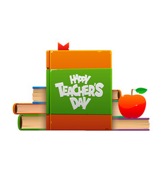 With books and apple happy teacher vector