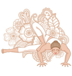 Women silhouette dragonfly yoga pose vector