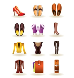 Clothing and footwear of leather vector image vector image