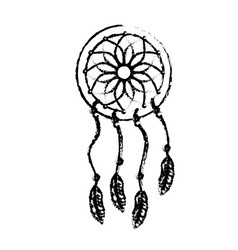 figure beauty dream catcher with feathers design vector image vector image