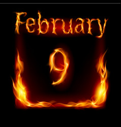 ninth february in calendar of fire icon on black vector image vector image