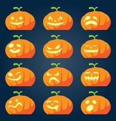 Set of halloween pumpkin faces vector image vector image