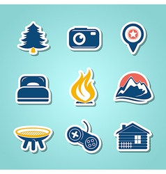 Travel and outdoor paper icons vector image vector image