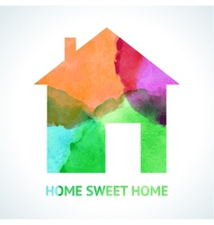 Watercolour sweet home icon on white background vector image