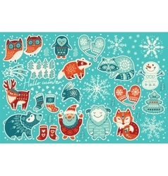 Collection of Christmas stickers vector image vector image