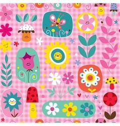 cute flowers mushrooms nature pattern vector image