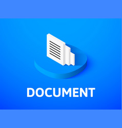document isometric icon isolated on color vector image