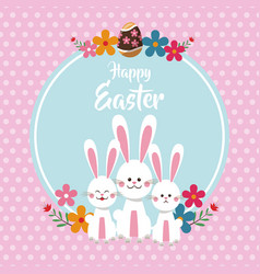 happy easter cute bunnies floral dots background vector image