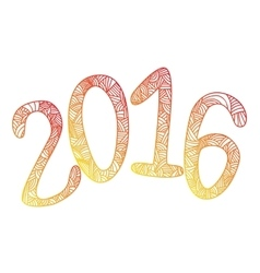Happy new 2016 year Letters with doodle abstract vector image
