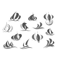 sailing ship saleboat yacht travel icons vector image