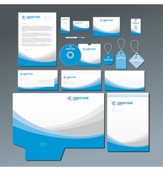 Blue stationery set vector image vector image
