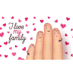 family day finger flat card vector image vector image
