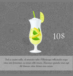 green tea cocktail card template vector image