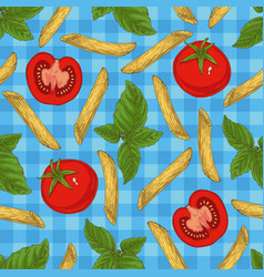 pasta herbs and vegetables seamless pattern vector image