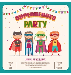 Superhero Card invitation with group of cute kids vector image vector image