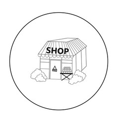 supermarket icon in outline style isolated on vector image