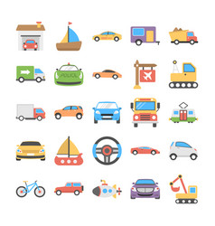 transport flat icons set vector image vector image