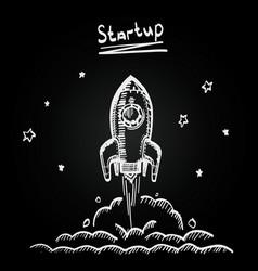 chalkboard sketch rocket startup creative idea vector image