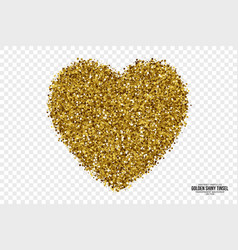 golden shiny tinsel heart background vector image vector image
